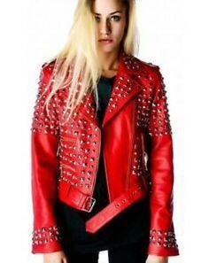 Ladies Brando Biker Fashion Leather Jacket Red Cowhide Leather Slim Fit Jacket