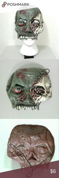 Zombie face mask * Offers are awesome :) * Bundles make it better! Like new condition soft plastic zombie face mask. Eye hole cutouts. Elastic headband. #zombies #halloweenzombie #costumemask Other