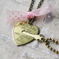 """Key to My Heart - Heart and Key Couples Necklace. 16"""" brass cable chain necklace. 25mm heart charm. $35.00 #jewelry #heart"""