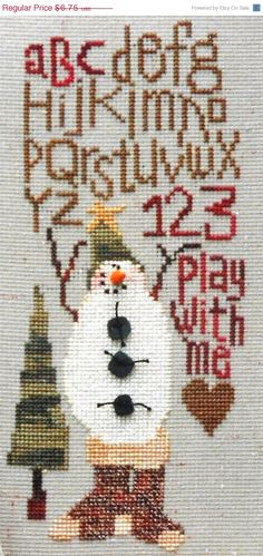 Sisters and Best Friends FOREST The SNOWMAN SAMPLER - Counted Cross Stitch Pattern Chart----pretty done up....socks look great