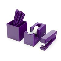 Poppin Purple Pen Cup, Tape Dispenser, Stapler | Desk Accessories | Cool Office Supplies #workhappy