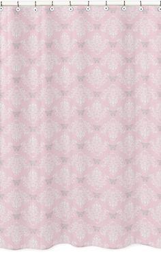 Jojo Pink Gray Floral Butterfly Girls Alexa Bathroom Fabric Bath Shower Curtain
