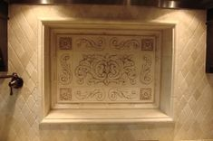 Kitchen backsplash using Floral tile, scrolls, medallions traditional kitchen Decorative Tile Backsplash, Stove Backsplash, Traditional Kitchen, Home Projects, Kitchen Remodel, House Design, Ceramics, Modern, Kitchen Ideas