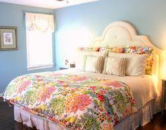 Floral bedding and white headboard from Pottery Barn on www.brightboldbeautiful.com