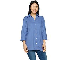 Belle by Kim Gravel Stretchabelle 3/4 Sleeve Linen Shirt