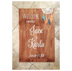 Boho style welcome sign