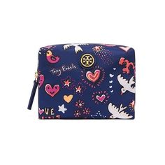 Tory Burch Brigitte Cosmetic Case (€74) ❤ liked on Polyvore featuring beauty products, beauty accessories, bags & cases, pattern, wash bag, toiletry kits, make up bag, tory burch makeup bag and makeup purse