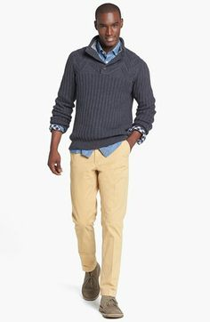 Ted Baker London Sweater, Thomas Dean Sport Shirt & Moods of Norway Slim Straight Stretch Pants  available at #Nordstrom