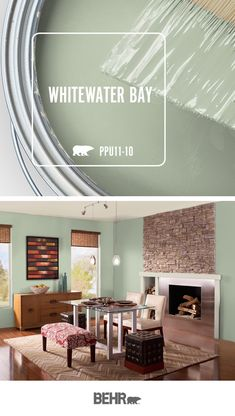 Whitewater Bay, by Behr Paint this cool green hue Paint Colors For Living Room, Paint Colors For Home, Room Paint, House Colors, Green Paint Colors, Modern Paint Colors, Dining Room Colors, Dining Rooms, Behr Paint Colors
