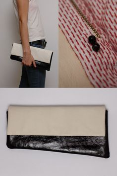 black-and-white leather clutch