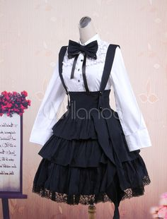 Cotton White Long Sleeves Blouse And Black Ruffles Lolita Skirt Outfit - Milanoo. - °Our Marshmallows°-(aesthetics) - Pretty Outfits, Pretty Dresses, Beautiful Dresses, Mode Outfits, Skirt Outfits, Set Fashion, Fashion Outfits, Fashion Tips, Lolita Outfit