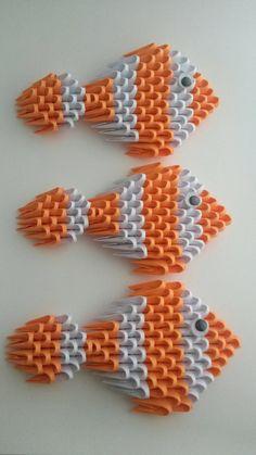3D Origami Clown Fish Set of 3 por WhimsicalFolds en Etsy