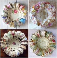 vintage teacups crafts ideas how to make a beautiful wreath – Vintage Teacups Cute Crafts, Easy Crafts, Diy And Crafts, Arts And Crafts, Tea Cup Art, Tea Cups, Tea Cup Display, Cup And Saucer Crafts, Teacup Crafts