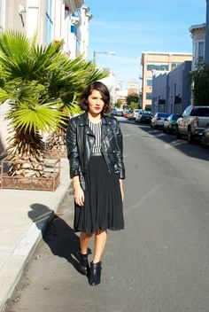 Estefania from Riot Fuss in the Vertigo Dress and Moto Zip Crop Jacket