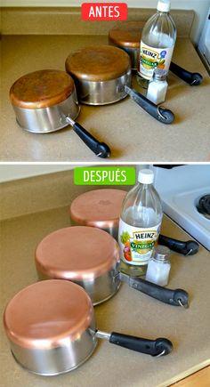 Las ollas de cobre se consideran las mejores para preparar la comida. Puedes renovarlas usando sal y vinagre. Sólo espolvorea la superficie con sal, rocíala con el vinagre y frótala con la parte más áspera de una esponja.