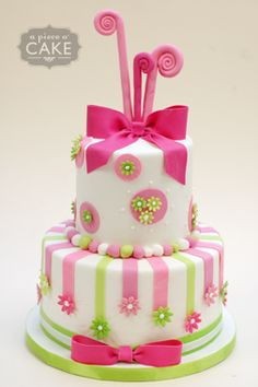 pink and green cake.  Love the bows!