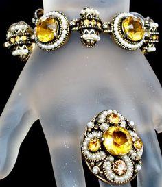 Hollycraft Corp Estate Set Citrine Topaz Pearl Bracelet Ring Signed Vintage 1954 | eBay