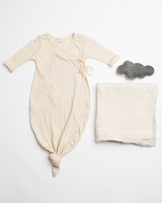 Bacabuche kimono style tie-up gown, swaddle blanket, and soft baby rattle