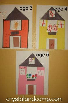 H is for House: A Letter of the Week Preschool Craft - Letter of the Week Crafts - activities for preschoolers – letter H activities & lesson for various ages - Letter H Crafts, Preschool Letter Crafts, Abc Crafts, Preschool Projects, Alphabet Crafts, Daycare Crafts, Alphabet Activities, Preschool Art, Preschool Learning