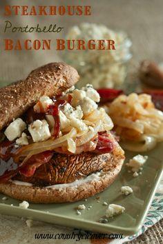 Steakhouse Portobello Burger turkey burgers, steakhous portobello, mushroom burger, bbq sauces, portobello mushroom, countri cleaver, burger recipes, portobello burger, sandwich recipes