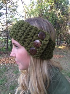 Cilantro color with Coconut Button Headband. Headbands are wide enough to cover your ears and keep you toasty warm.   The three buttons are