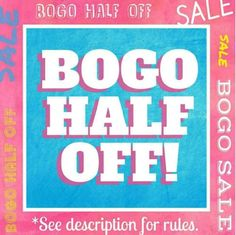 🎉BOGO 50% OFF SALE!               **NO HOLDS!** **Everything in my closet is BOGO 50% OFF!   Ends Sunday, September 18th, at 12 am pacific.   ⚠As long as you let me know what you want by that time/date, I'll honor it (In case I'm not online).⚠  *You must pay asking price to get the 50% off discount.  *The least expensive item is the 50% off item.  *I HAVE TO SET UP THE BUNDLE FOR YOU TO GET THE DISCOUNT. PLEASE TAG & MESSAGE ME ON WHAT YOU WANT.  *The 15% off bundles deal does NOT apply…