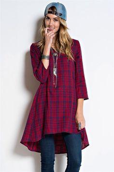 Plaid tunic Cotton,v -neck available at  www.shoplavidaloca.com