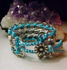 Blue and White Pop Tab Bracelet back by LWaite.deviantart.com on @deviantART