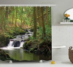 Waterfall in Tropical Rainforest Fresh Lake Exotic Nature Shower Curtain Set