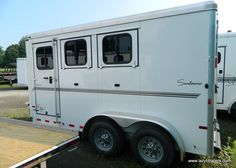 """2013 Sundowner Sportman 3H BP Trailer - 6' 9"""" Wide, 15' 10"""" Long, 7' Tall, 2' Short Wall Dressing Room, Drop Down Windows, Double Back Door, Spare Tire. Contact us for pricing and availability."""
