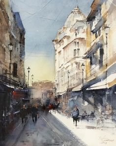 Watercolor painting by Maria Cornea Watercolor Paintings, Watercolors, Urban Architecture, Impressionist Art, Bucharest, City Art, Street Artists, Online Art Gallery, Love Art