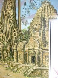 Angkor Wat Temple in the Jungle Mural, featuring panoramic murals around a swimming pool Jungle Temple, Angkor Wat, Ancient Art, Barcelona Cathedral, Places To See, Swimming Pools, Taj Mahal, Fantasy, Architecture