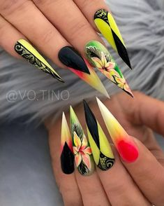 Stiletto nail art design is one of the classic nail shapes. Stiletto nails are also known as claw nails. Stiletto nails look more sexy and attractive than regular long nails. The Stiletto nail de Long Nail Designs, Beautiful Nail Designs, Nail Art Designs, Nails Design, Nail Swag, Uñas Color Neon, Stiletto Nail Art, Coffin Nails, Matte Nails