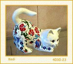 Çini Kedi Firuze cini hayvanlar, Promosyon,gümüş Takı,iznik ciniler, gümüşlü çinili Takı,Bakır,Çini seramik obje ve pano,Hat