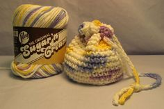 Free Crocheted Itty Bitty Bag- great idea for putting gifts in.