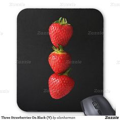 Three Strawberries On Black (V) Mouse Pad