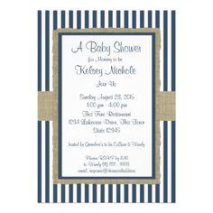 Navy Blue Stripes Baby Shower Custom Invitation