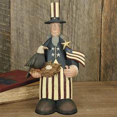 Uncle Sam with Eagle and Flag Figurine - American Folk Art Collectibles & Patriotic Figurines – Williraye Studio $40.00