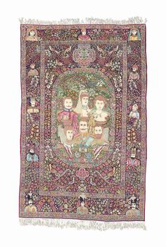 KIRMAN PICTORIAL RUG  SOUTH EAST PERSIA, CIRCA 1910  Depicting Kaiser Wilhelm II and other members of the House of Hohenzollern,