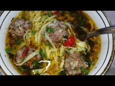 ТАКОЙ СУПЧИК ХОТЬ КАЖДЫЙ ДЕНЬ ПОДАВАЙТЕ!Узбекский суп Угра Гужа с фрикадельками. - YouTube Ital Food, Dessert Recipes, Desserts, Pork, Food And Drink, Beef, Meals, Chicken, Cooking