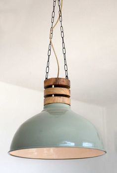 Items similar to HOLZSTAPEL lamp - hanging lamp with original industrial Phillips green shade, custom, designed by hand made top, pendant light on Etsy Large Pendant Lighting, Kitchen Pendant Lighting, Kitchen Pendants, Glass Pendant Light, Dining Room Lighting, Retro Lighting, Unique Lighting, Lighting Design, Blitz Design