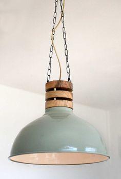WOOD STACK LAMP  Hanging Lamp with 1940's Philips shade door StudioHamers