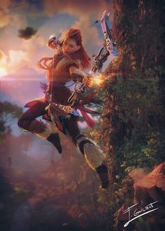 Aloy from Horizon: Zero Dawn Horizon Zero Down, Horizon Zero Dawn Aloy, Video Game Characters, Fantasy Characters, Female Characters, Warrior Princess, Horizon Zero Dawn Wallpaper, Cyberpunk City, Anime Kawaii