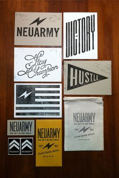 i like the collection of different fonts with emphasis on simple top left neuarmy