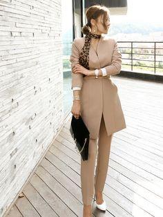 Wholesale Autumn Solid Color V-neck OL Style Formal Suits EHG082845 | Wholesale7.net Vogue Fashion, Hijab Fashion, Runway Fashion, Womens Fashion, Formal Suits, Cold Weather Outfits, Two Pieces, Business Women, Autumn Fashion