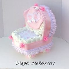 Pink Baby Carriage Diaper Cake - Carriage Diaper Cake - Girl Diaper Cake - - Unique Baby Shower Gift or Centerpiece - Basinet