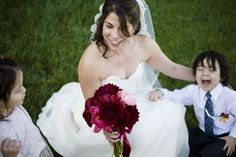 Dahlias and Bouquets, burgundy and pink bouquet