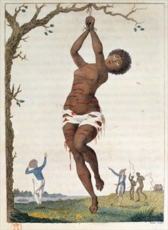 Flagellation of a Female Samboe Slave, 1793, plate 36 from 'Narrative of a Five Years' Expedition against the Revolted Negroes of Surinam', engraved by William Blake (1757-1827), pub. 1796 (coloured engraving