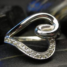 Diamond heart shape engagement ring in 14kt white by nellyvansee, $1047.00