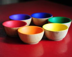 Rainbow Wooden Sorting Bowls - Educational Montessori Waldorf Toys / Wooden Toy, Play Kitchen